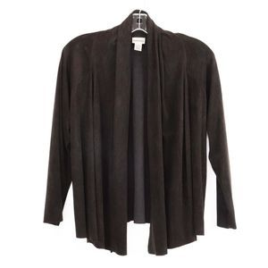 Chico's Brown Faux Suede Open Cardigan